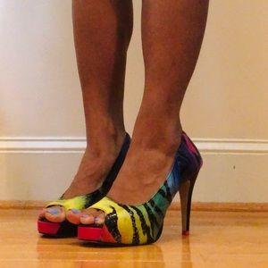 Rainbow Zebra Peep-Toe Platform Heel